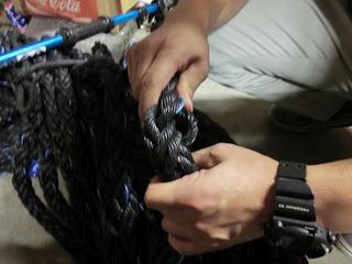 種付けボランティアは、このロープをこのようにひねって、できた隙間にワカメの種を刺します。