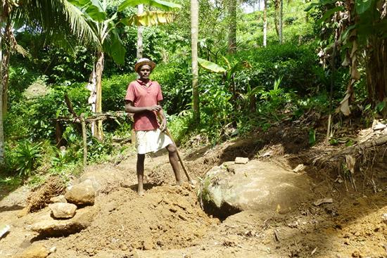近所の農家が集まって手作業で整地を進めています