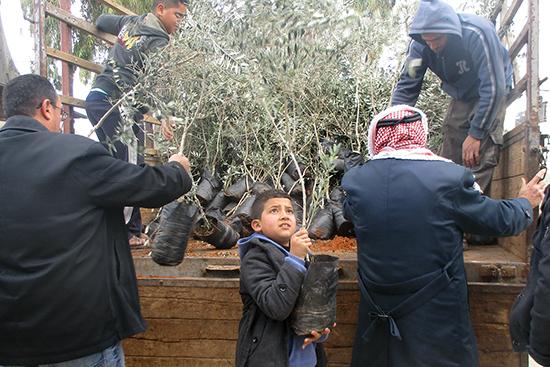 地元の農協メンバーや農家さんの子どもたちも手伝って、前日に苗木配布。