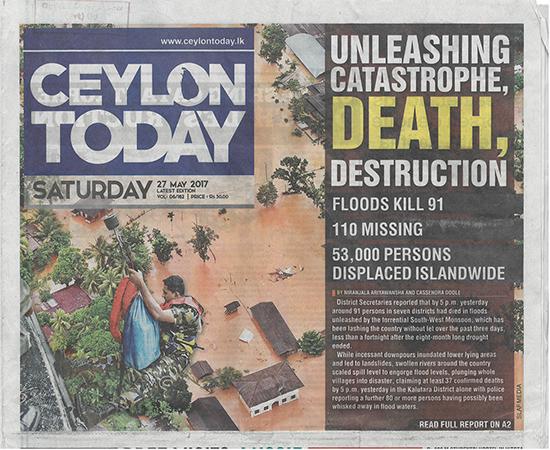 洪水の状況を伝える現地の新聞 (CEYLON TODAY 1面 2017年5月24日付)