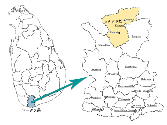 南部マータラ県の支援地マップ