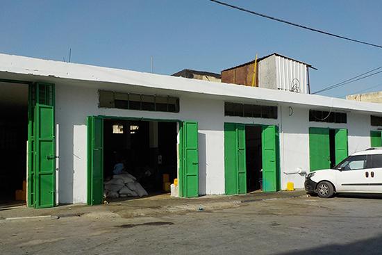 マスハの搾油所、持ち込まれたオリーブの詰まった袋、搾油中の農家さん