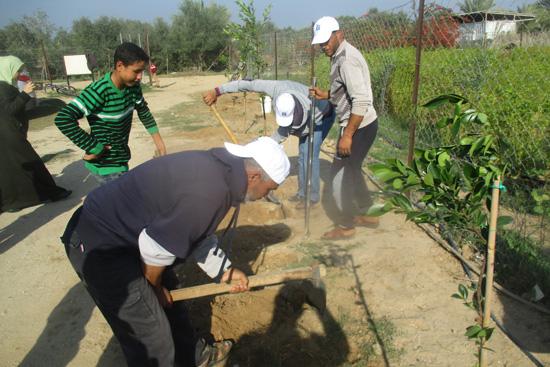 サッカー場での緑化活動