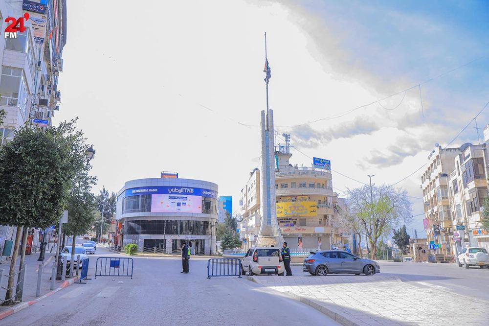ラマッラー、渋滞スポットのアラファート広場は空っぽに 撮影:Mohammad Silwadi
